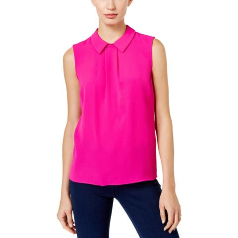 CeCe Womens Blouse Textured Pleated