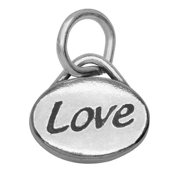 Lead-Free Pewter Message Charm, 'Love' 11x8mm, 1 Piece, Antiqued Silver