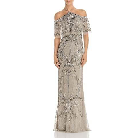 Aidan Mattox Womens Evening Dress Beaded Off-The-Shoulder