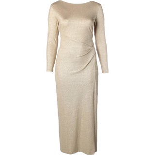 Lauren Ralph Lauren Womens Evening Dress Metallic Long Sleeves