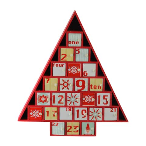 "14"" Rustic Red and White Christmas Tree Shaped Advent Calendar Decoration - N/A"
