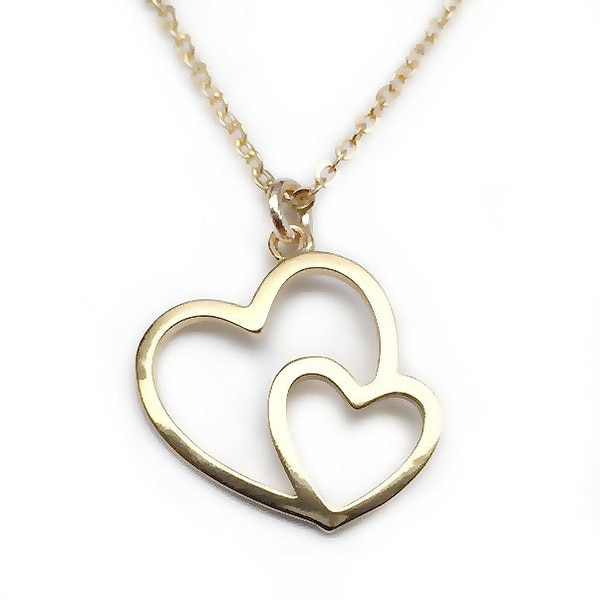 "Julieta Jewelry Double Heart Gold Charm 16"" Necklace"