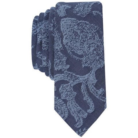 Original Penguin Mens Denim Baroque Self-tied Necktie, blue, One Size - One Size