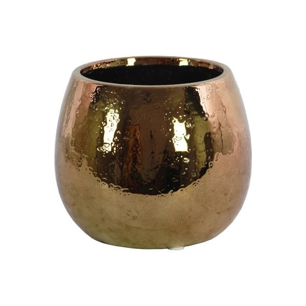 Ceramic Round Vase With Hammered Pattern, Copper