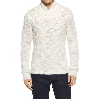 Calvin Klein NEW White Ivory Mens XL Shawl-Collar Cable Knit Sweater
