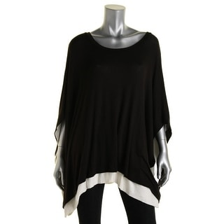 Three Dots Womens Knit Asymmetrical Poncho Sweater - m/l