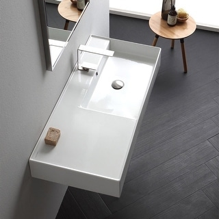 "Nameeks Scarabeo 5120  Scarabeo Teorema 2.0 40"" Rectangular Ceramic Vessel or Wall Mounted Bathroom Sink with Overflow"