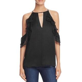 Parker Womens Blouse Lace Trim Silk