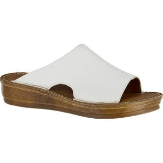 Bella Vita Mae-Italy Women WW Open Toe Leather Tan Slides Sandal