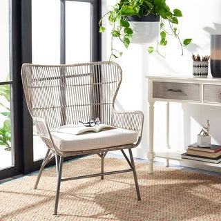 """Link to Safavieh Lenu Rattan Accent Chair with Cushion - 28.4"""" W x 25.2"""" L x 34.3"""" H Similar Items in Living Room Chairs"""