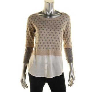 Kensie Womens Ribbed Trim Polka Dot Tunic Sweater - XL