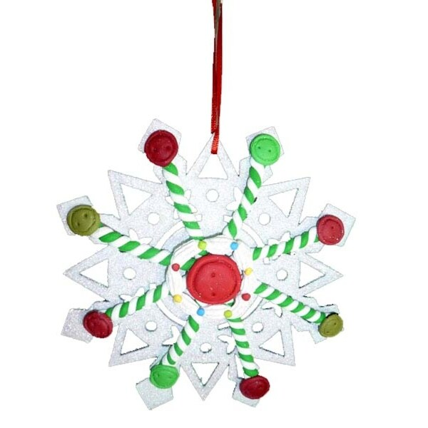 "5.5"" Sweet Memories Glittered Button and Spearmint Snowflake Christmas Ornament - WHITE"