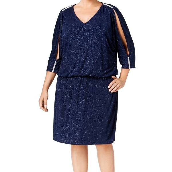0f3c0f8b504bc MSK NEW Blue Womens Size 20W Plus Metallic Cold-Shoulder Blouson Dress
