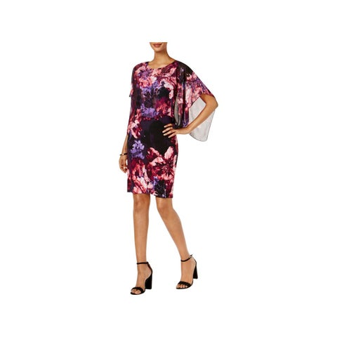 SL Fashions Womens Capelet Dress Sheer Overlay Cocktail