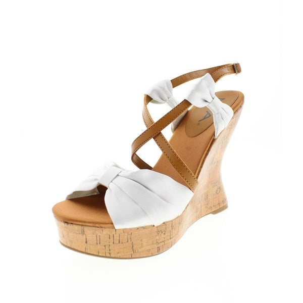 Mia Womens Isabella Wedge Sandals Satin Platforms
