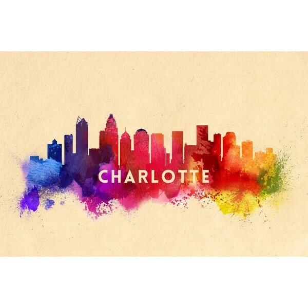 Charlotte, NC - Skyline Abstract - LP Artwork (Cotton/Polyester Chef's Apron)