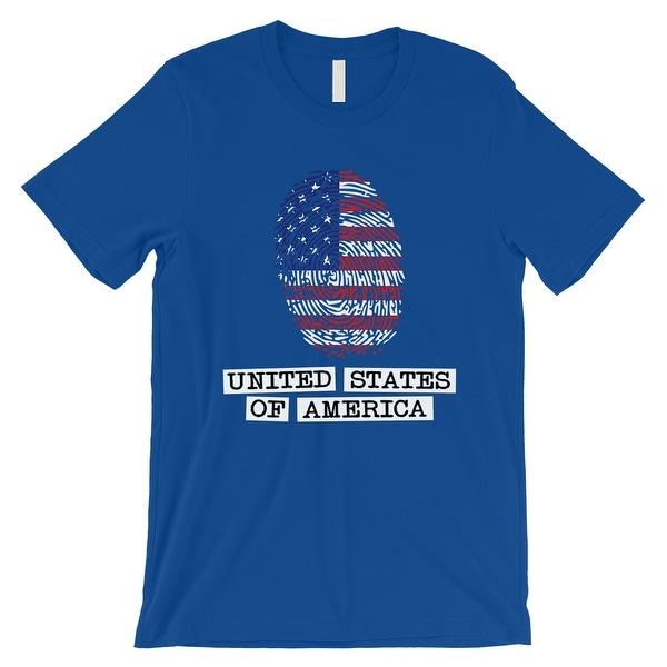 Usa Fingerprint Flag Mens Royal Blue T Shirt Funny July 4th Shirt