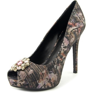 Guess Hotspot Open Toe Canvas Platform Heel