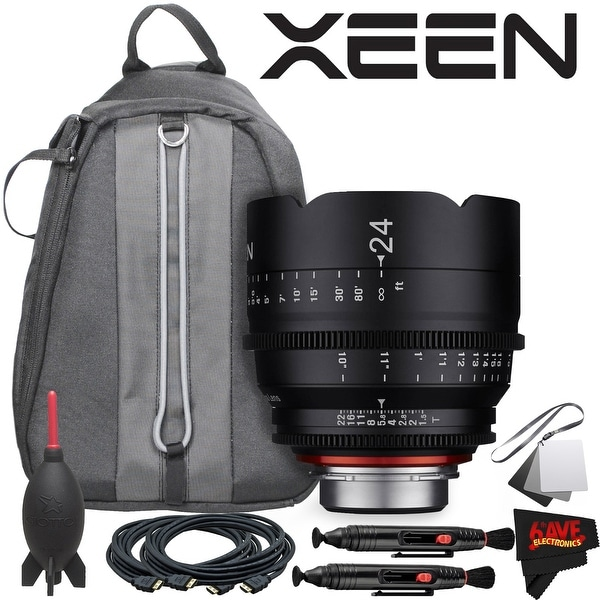 Rokinon Xeen 24mm T1.5 Lens for PL Mount With Professional Lens Backpack and Accessories - black