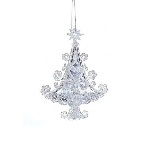 "5.7"" Ornate White Scroll Pattern Christmas Tree Hanging Christmas Ornament"