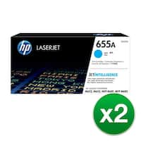 HP 655A Original LaserJet Toner Cartridge - Cyan (2-Pack) LaserJet Toner Cartridge