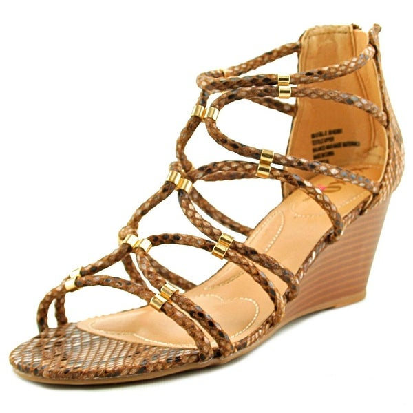XOXO Sybil Women Open Toe Canvas Brown Wedge Sandal