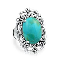 Bling Jewelry Oval Natural Compressed Turquoise 925 Silver Cocktail Ring - Blue