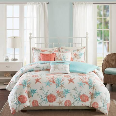 Madison Park Pacific Grove Coral Cotton Duvet Cover Set
