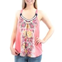 Womens Pink Floral Sleeveless Scoop Neck Casual Top  Size  S