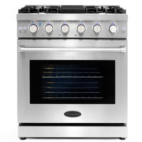 30 in. Freestanding Gas Range with 5 Italian Burners and 4.5 cu. ft. Convection Oven in Stainless Steel