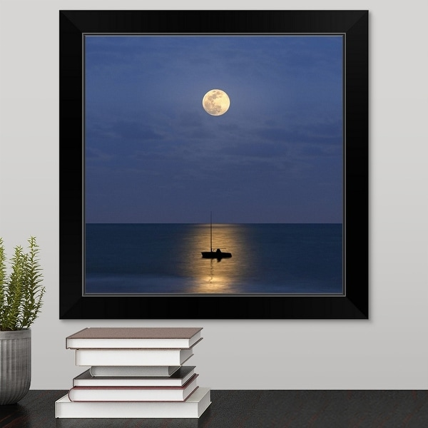 """Silhouette sailboat with moon"" Black Framed Print"