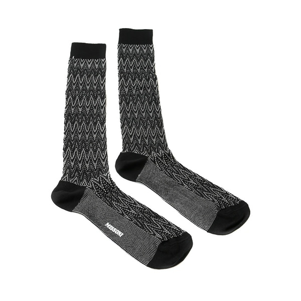 Missoni GM00CMU5239 0005 Black/White Chevron Knee Length Socks - L