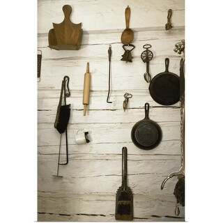 """""""Collection of old-fashioned kitchen utensils and implements"""" Poster Print"""