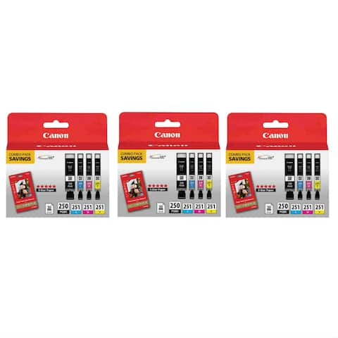 Canon PGI250/CLI251 Ink & Paper Combo Pack BCMY (3-Pack) Ink Cartridge Combo Pack