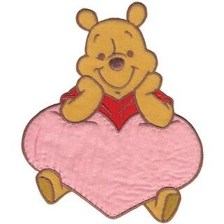 Disney Winnie The Pooh Iron-On Applique-Pooh W/Heart