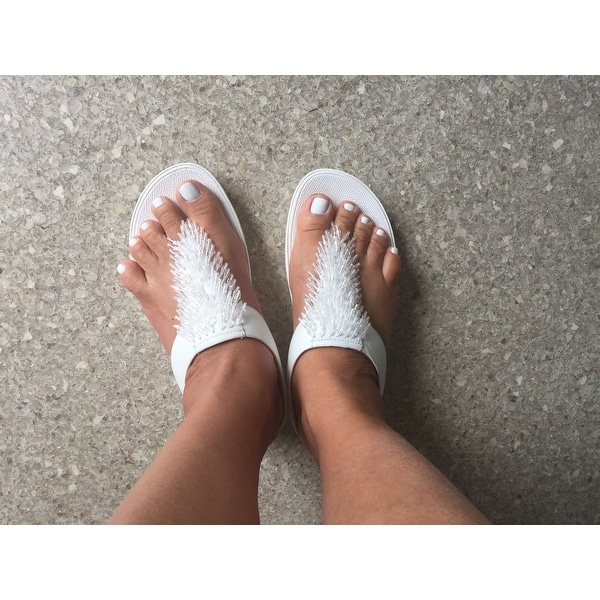 5b51246790d6ad Shop FitFlop Women s Rumba Wedge Thong Sandal Urban White Leather - Free  Shipping Today - Overstock - 22128394