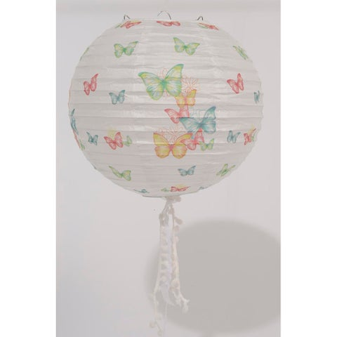 """15.75"""" L'Eau de Fleur White Butterfly and Floral Chinese Paper Lantern with Pom Pom Tassels"""