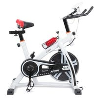 Akonza Pro Exercise 40lbs Flywheel Bike Indoor Cycling Bicycle Gym Heart Pulse Trainer Bottle Holder, White