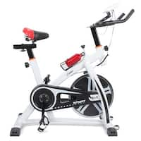 Akonza Pro Exercise Bike Indoor Cycling Bicycle Gym Heart Pulse Trainer Bottle Holder, White