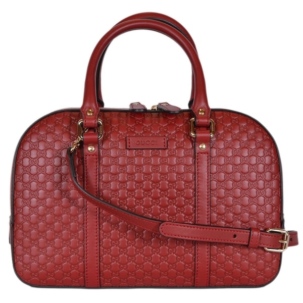 55b8d96ecb85e1 Gucci Women's 510286 Micro GG RED Leather Convertible Medium Satchel  Purse -