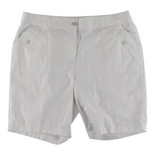 Karen Scott Womens Plus Bermuda Shorts Denim Solid - Bright White