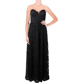 Aqua Womens Formal Dress Lace Overlay Rosette - 6