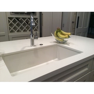 "Fireclay Single Bowl 32"" Undermount or Flushmount Kitchen Sink, White"