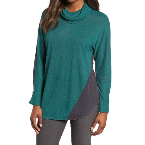 Nic + Zoe Green Gray Womens Size Large L Colorblocked Knit Top