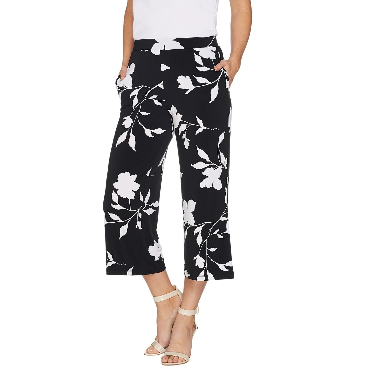Susan Graver Ultra Stretch Pull-On Crop Pants Black 12 NEW A288148
