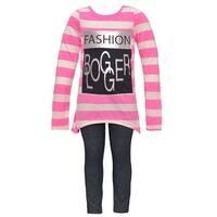 "Dreamstar Little Girls Pink Stripe ""Fashion Blogger"" 2 Pc Legging Set"