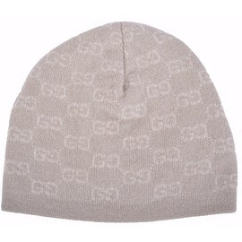 New Gucci Men's 387577 Beige 100-percent Cashmere GG Guccissima Beanie Ski Winter Hat