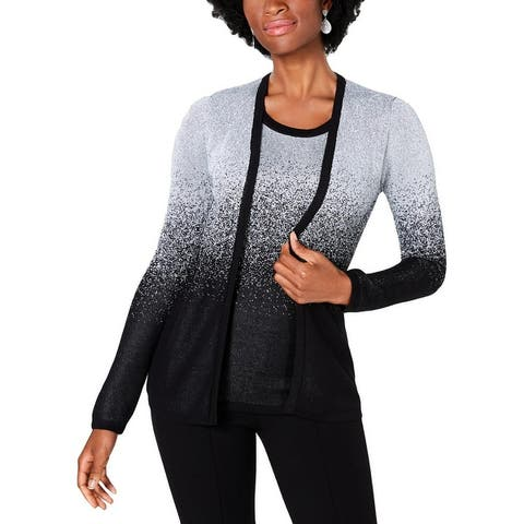 NY Collection Womens Petites Fly Away Pullover Sweater Metallic Ombre
