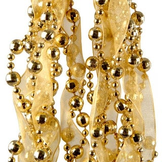 Gold Bead and Ribbon Garland