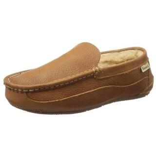 Bearpaw Mens Baldwin Leather Sheepskin Lining Loafer Slippers